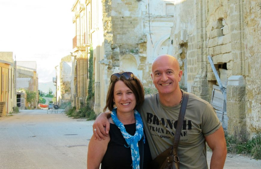 Me with my cousin Fabio Bavetta in Santa Margherita di Belice - the old part of the city that was destroyed in the earthquake